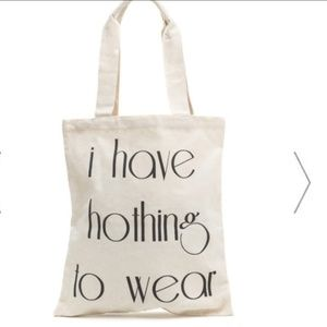 """Handbags - NEW Canvas """"nothing to wear"""" tote bag"""
